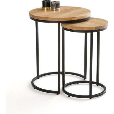 Vova Nest of 2 Side Tables in Oak & Steel