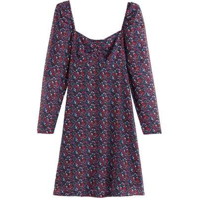 Wallpaper Print Midi Dress with V-Neck and Long Sleeves