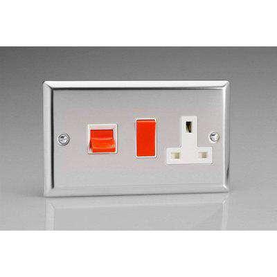 Varilight Classic Double Pole Switch & Socket (Double XC45PW) - Polished Chrome - XC45PW