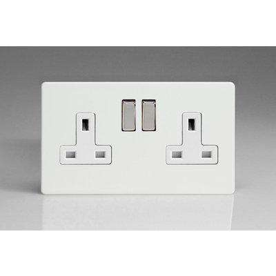 Varilight 2 Gang 13A Double Pole Switched Socket with Metal Rockers - XDQ5WS