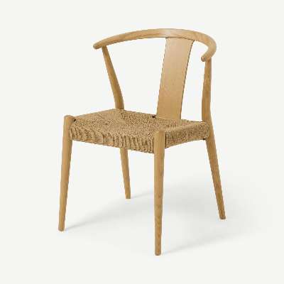 Abbon Woven Dining Chair, Oak Finish