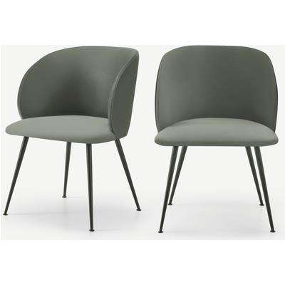 Adeline Set of 2 Carver Dining Chairs, Sage Green Velvet & Black