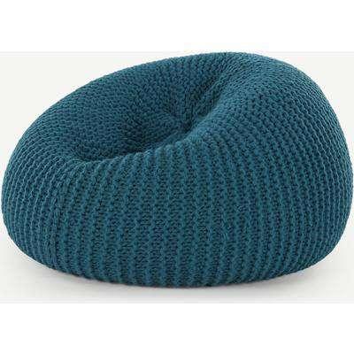 Aki 100% Wool Knitted Cocoon Bean Bag, Blue