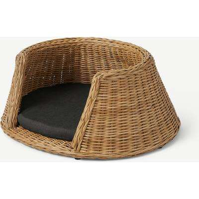 Akila Round Dog Bed, Medium, Natural Rattan & Grey