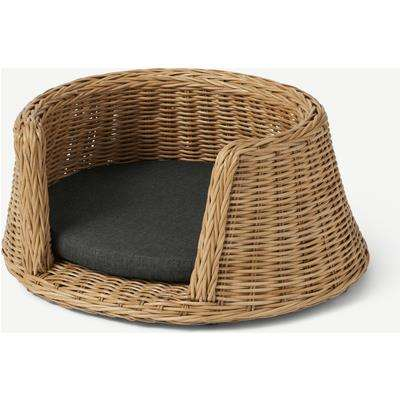 Akila Round Dog Bed, Small, Natural Rattan & Grey