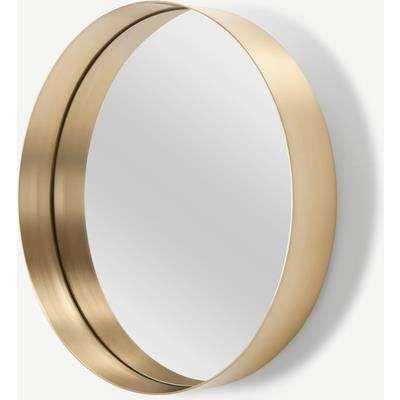 Alana Round Mirror 50cm, Brushed Brass