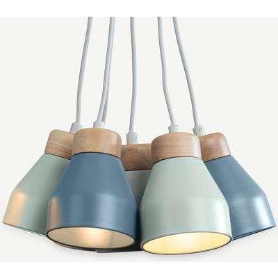 Albert Cluster Pendant Lamp, Muted Grey Dusk Blue & Duck Egg