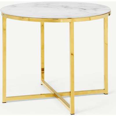 Alisma Console Table, Frosted Marble Effect Glass & Brass