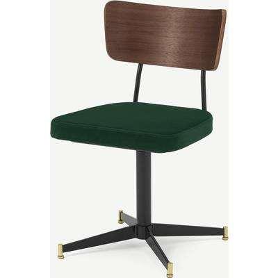 Amalyn Office Chair, Pine Green Velvet & Walnut