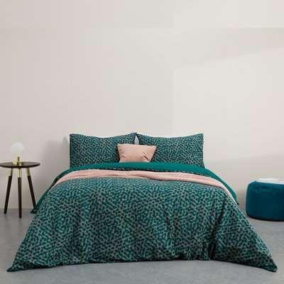 Annie Cotton Duvet Cover + 2 Pillowcases, King, Peacock Green