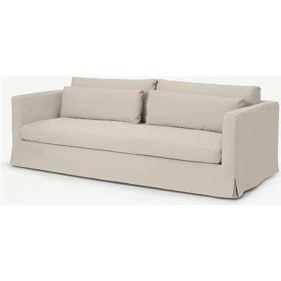 Arabelo 3 Seater Loose Cover Sofa, Natural Cotton & Linen Mix Fabric