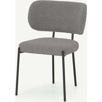 Asare Dining Chair, Steel Boucle & Black Leg