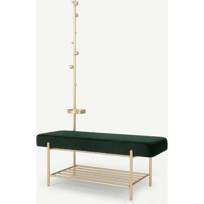 Asare Hallway Storage Bench, Pine Green Velvet & Brass