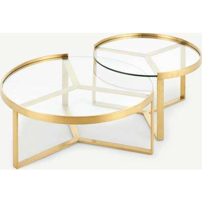 Aula Nesting Coffee Table, Brushed Brass and Glass