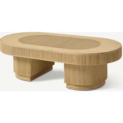 Azrou Oval Coffee Table, Natural Cane