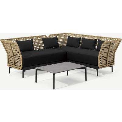 Balawa Garden Corner Sofa Set, Natural & Grey