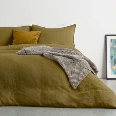 Brisa 100% Linen Duvet Cover + 2 Pillowcases Super King, Olive