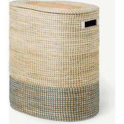 Cam Double Laundry Basket, Stitched Natural Seagrass