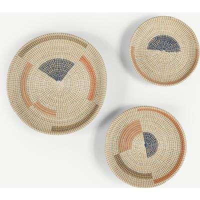 Cam Set of 3 Decorative Seagrass Wall Art Objet, Multi