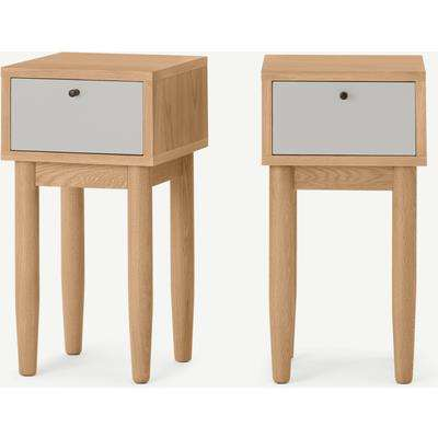 Campton Compact Set of 2 Bedside Tables, Oak & Grey