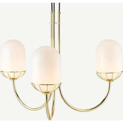 Carole Chandelier Lamp, White & Brass