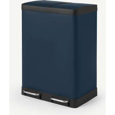 Colter Soft Close Double Recycling Pedal Bin, 2 x 30L, Midnight Navy