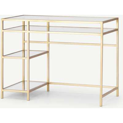 Connelly Desk, Brass & Smoked Glass