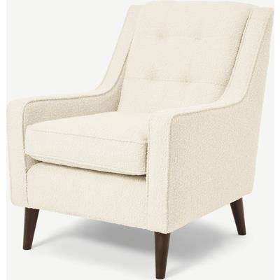 Content by Terence Conran Tobias Armchair, Ivory White Boucle with Dark Wood Leg