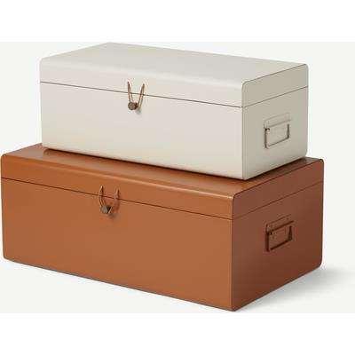 Daven Set of 2 Metal Storage Box Trunks, Burnt Orange & Off White