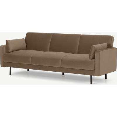 Delphi Click Clack Sofa Bed, Soft Mink Velvet