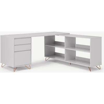 Elona Corner Desk with Open Sideboard, Grey & Copper