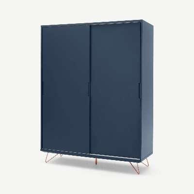 Elona Sliding Wardrobe, Dark Blue and Copper