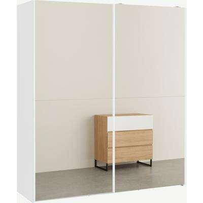 Elso Sliding Wardrobe 180cm, White Frame with Mirror Doors