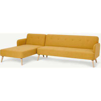 Elvi Left Hand Facing Chaise End Click Clack Sofa Bed, Butter Yellow