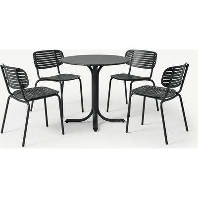 Emu 4 Seat Garden Dining Set, Dark Grey Powder-Coated Steel