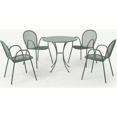 Emu 4 Seat Round Garden Dining Set, Dark Green Powder-Coated Steel