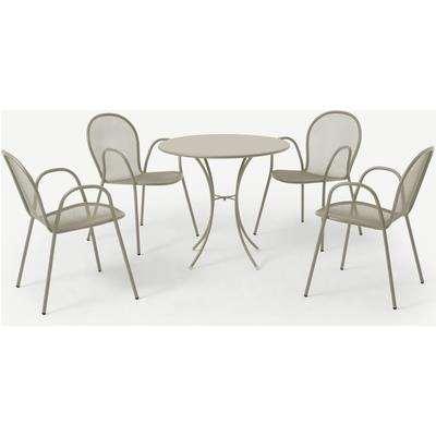 Emu 4 Seat Round Garden Dining Set, Soft Grey Powder-Coated Steel