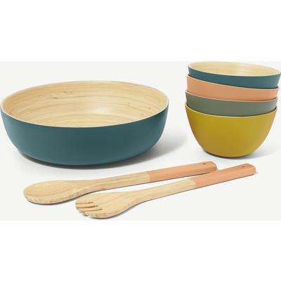 Ennesse Spun Bamboo Large Salad Bowl & Servers with x 4 Bowls, Multi