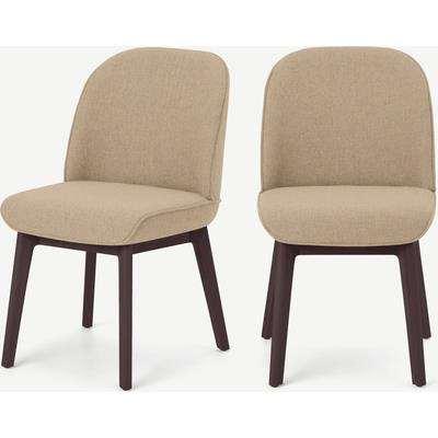 Erdee Carver Dining Chair, Soft Beige Weave with Dark Stain Legs