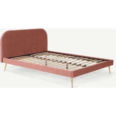 Eulia Super King Size Bed, Blush Pink Velvet & Brass Legs