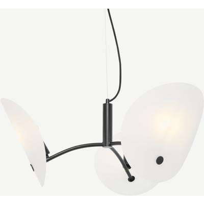 Folio Chandelier Ceiling Light, Black & Frosted Glass