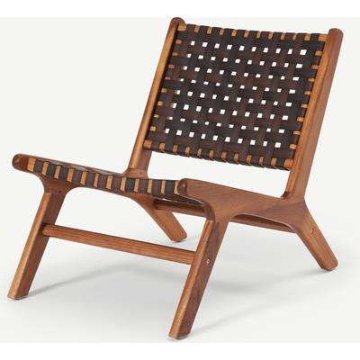 Formby Lounge Chair, Faux Leather and Acacia