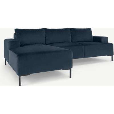 Frederik 3 Seater Left Hand Facing Compact Corner Chaise End Sofa, Sapphire Blue Velvet