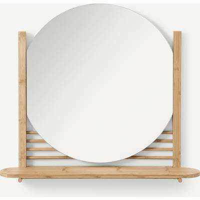 Gian Mirror with Shelf, Natural Bamboo