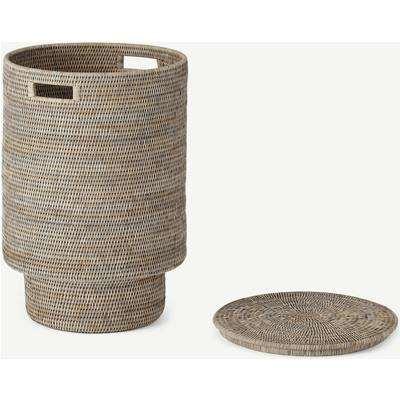Hadid Extra Large Hand Woven Rattan Laundry Basket, Grey
