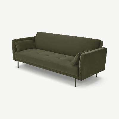 Harlow Click Clack Sofa Bed, Pistachio Green Recycled Velvet