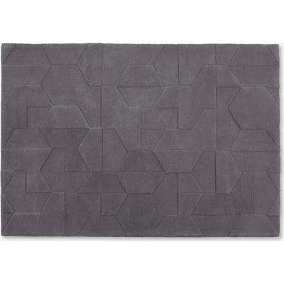 Hayden Geometric Carved Wool Rug, Large 160 x 230cm, Grey