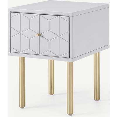 Hedra Bedside Table, Grey & Brass