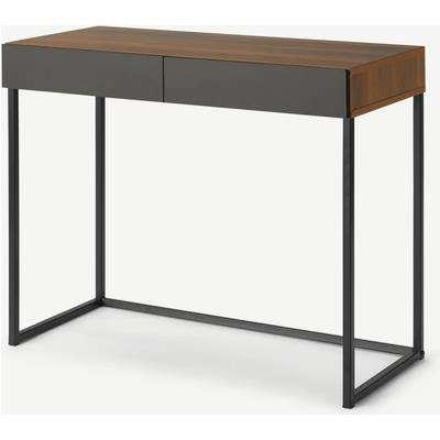Hopkins Compact Desk, Walnut Effect & Grey