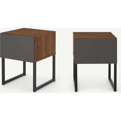 Hopkins Set of 2 Bedside Tables, Grey & Walnut